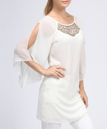 Ivory Bead Sheer-Sleeve Dress - Women