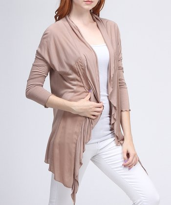 Taupe Embroidered Open Cardigan - Women