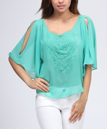 Green Beaded Cape-Sleeve Top
