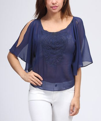 Navy Beaded Cape-Sleeve Top - Women