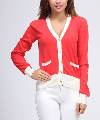 Coral & White Cardigan - Women