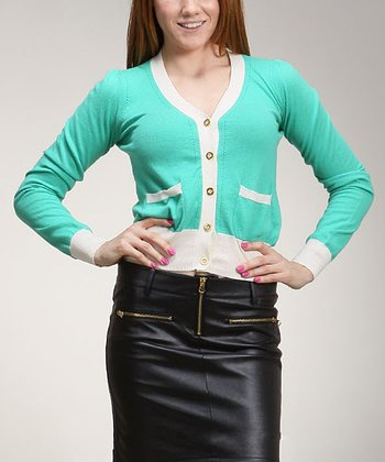 Green & White Cardigan - Women