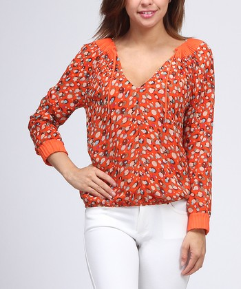 Orange Keyhole Top - Women