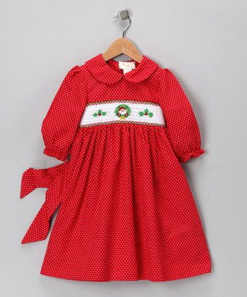 Red Holly Dot Dress - Toddler & Girls