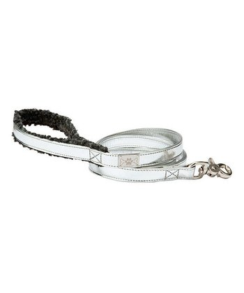 Silver Shearling Leash