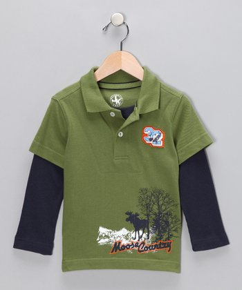 Green Layered Polo - Toddler & Boys