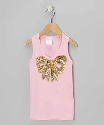 Pink & Gold Sequin Bow Tank - Infant, Toddler & Girls