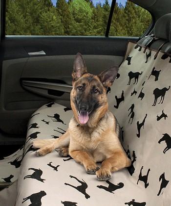 Beige & Black Dog Silhouette Pet Car Seat Cover