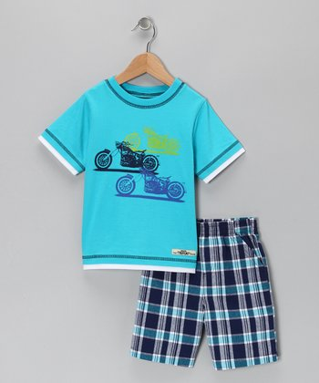 Aqua Motorcycle Stripe Tee & Shorts - Infant & Toddler
