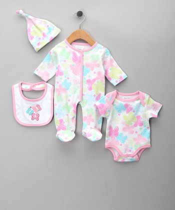 Pink Butterfly Footie Set