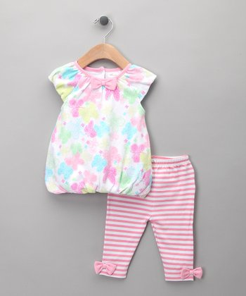 Pink Butterfly Bubble Dress & Leggings