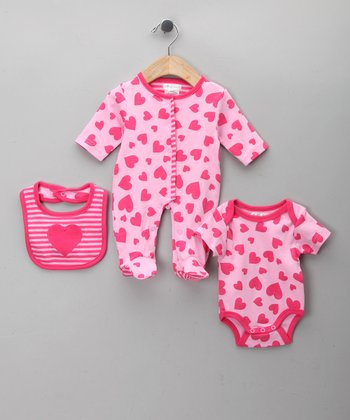 Pink Heart Footie Set