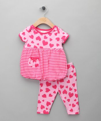 Pink Heart Bubble Dress & Leggings