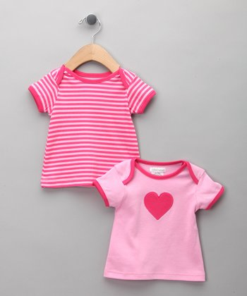 Pink Stripe Heart Tee Set