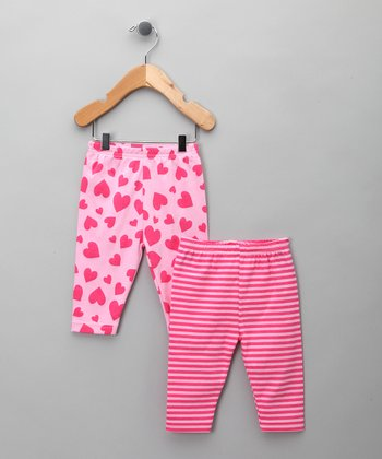 Pink Stripe Heart Leggings Set