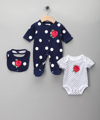 Navy Polka Dot Rose Footie Set