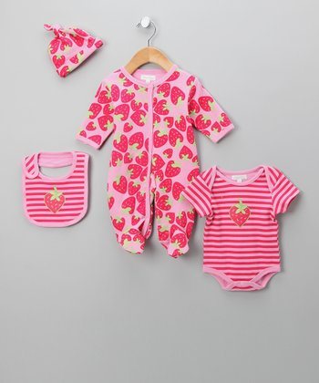 Pink Strawberry Footie Set