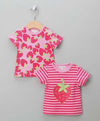 Pink Stripe Strawberry Tee Set