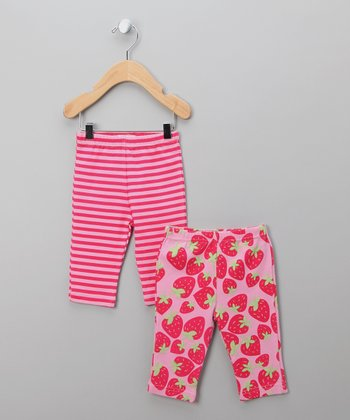 Pink Stripe Strawberry Leggings Set