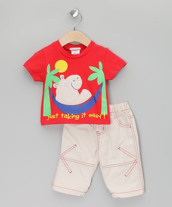 Red 'Taking It Easy' Tee & Beige Pants