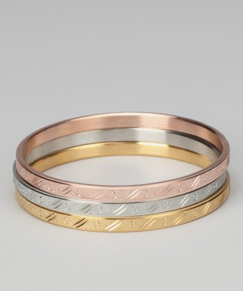 Tricolor Shiny Bangle Set