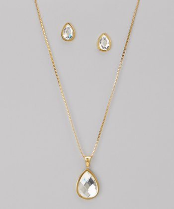 Gold Sparkle Teardrop Pendant Necklace & Earrings