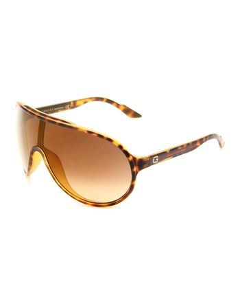 Gucci Brown & Gold Havana Visor Sunglasses