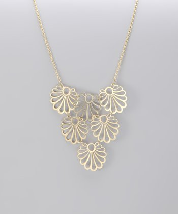 Gold Matte Floral Bib Necklace
