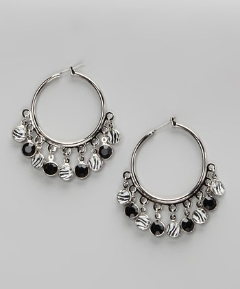 Black & Zebra Silver Hoop Earrings