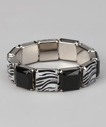 Black & Zebra Lucite Stretch Bracelet