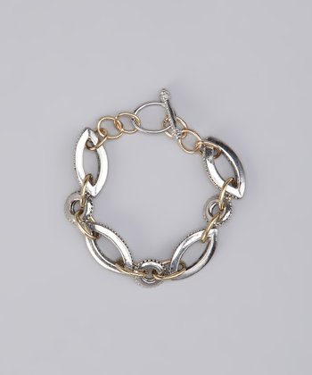 Silver & Gold Two-Tone Mixed Link Bracelet