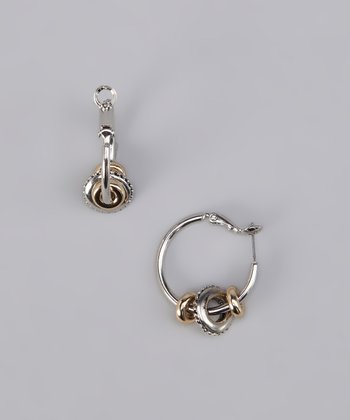 Silver & Gold Two-Tone Ring Accent Hoop Earrings