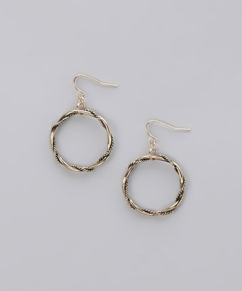 Burnished Gold Twisted Ring Earrings