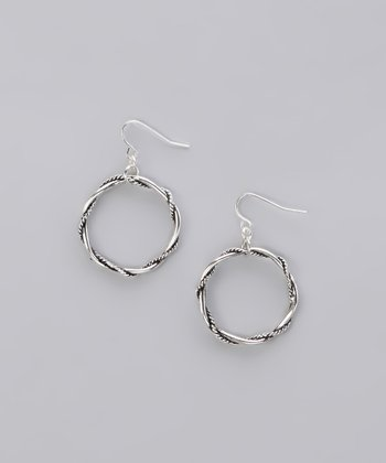 Burnished Silver Twisted Ring Earrings