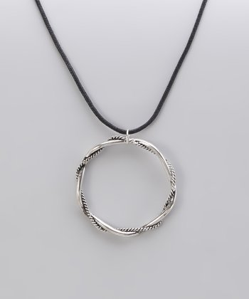 Burnished Silver Twisted Ring Pendant Necklace