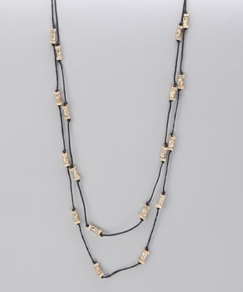 Gold Textured Bead Knotted Station Necklace