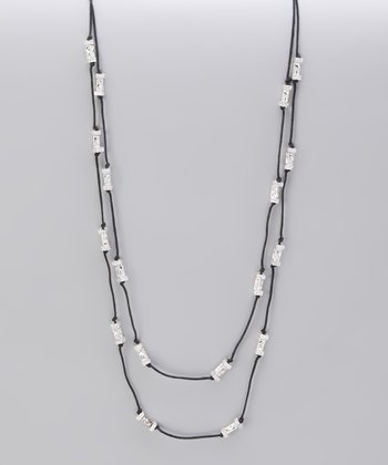 Silver Textured Bead Knotted Station Necklace