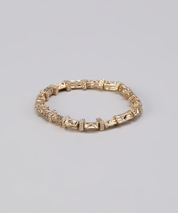 Gold Texture Beaded Stretch Bracelet