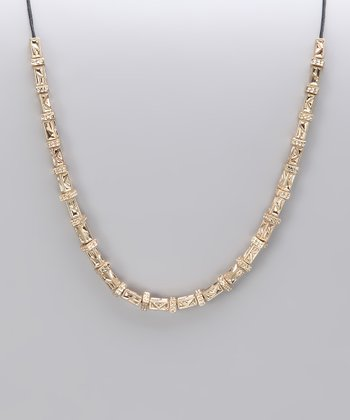 Gold Textured Bead Necklace