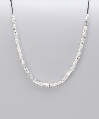 Silver Textured Bead Necklace