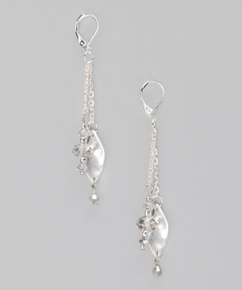 Matte Silver & Crystal Chain Earrings