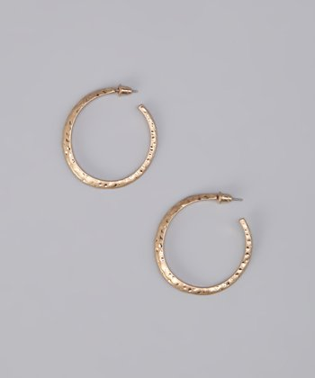 Gold Matte Hammered Hoop Earrings