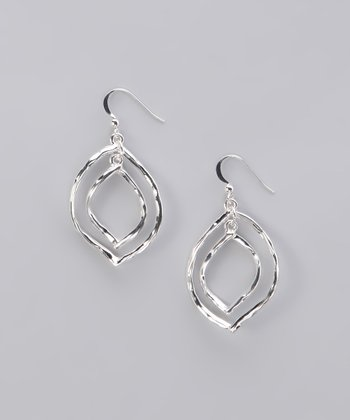 Silver Hammered Double Leaf Earrings