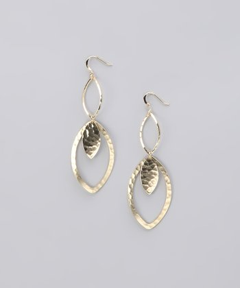 Gold Hammered Leaf Double Drop Earrings