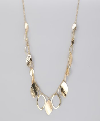 Gold Hammered Leaf Necklace