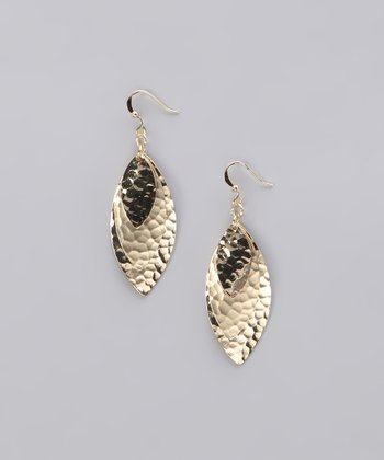 Gold Hammered Triple Leaf Earrings
