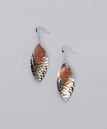 Silver & Gold Tricolor Hammered Triple Leaf Earrings