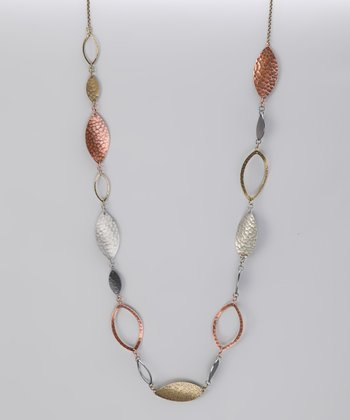 Silver & Gold Tricolor Hammered Leaf Necklace