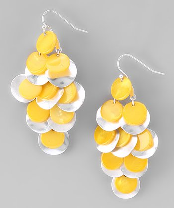 Yellow Shell Chandelier Earrings