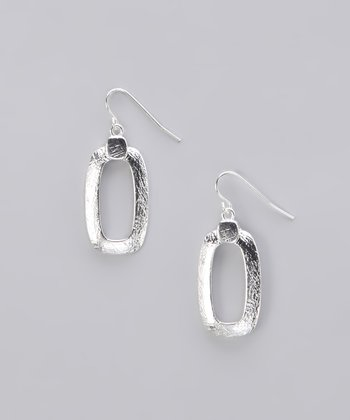 Silver Brushed Open Square Earrings